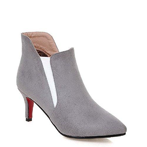 AllhqFashion Damen Ziehen auf Hoher Absatz Rein Naht Niedrig-Spitze Stiefel Grau