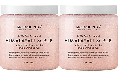 Majestic Pure Himalayan Salt Body Scrub with Lychee Essential Oil, All Natural Scrub to Exfoliate & Moisturize Skin, 10 Ounce (Pack of 2)