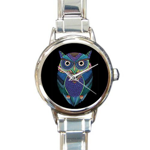 Personalized Watch Cartoon Cute Owl Design Round Italian Charm stainless steel Watch