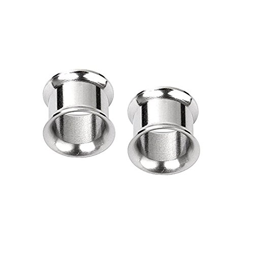 (Pair of Surgical Steel Double Flared Tunnel Plugs Sizes: 12GA to 2 Inch E2 Sold As a Pair (1&1/2