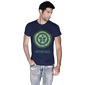 Creo Blue Cotton Round Neck T-Shirt For Men