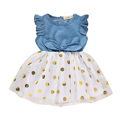 SWNONE Infant Toddler Baby Girl Dress Ruffle Sleeve Denim Jeans White Tulle Tutu Dots Bowknot Princess Wedding Dress Skirt Outfit (Denim+ White Tulle, 3-4Y)