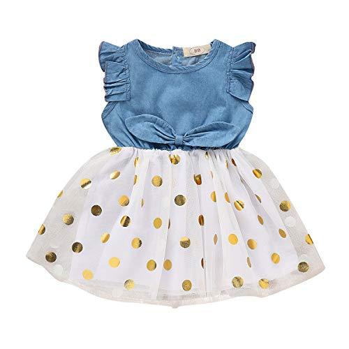 - SWNONE Infant Toddler Baby Girl Dress Ruffle Sleeve Denim Jeans White Tulle Tutu Dots Bowknot Princess Wedding Dress Skirt Outfit (Denim+ White Tulle, 12-18M)
