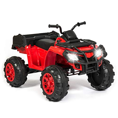 (Best Choice Products 12V Kids 4-Wheeler Ride On ATV Truck w/ 2-Speeds, Lights, Sounds - Red)