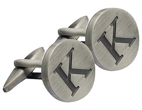 GGemony Men's Shirt Cufflinks 2PCS,Alphabet Letter A-Z (K-925 Antique Sterling Silver)