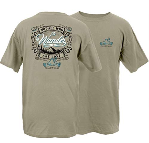Peace Frogs Not All Who Wander Frog Adult Unisex Short Sleeve T-Shirt (Khaki, X-Large)