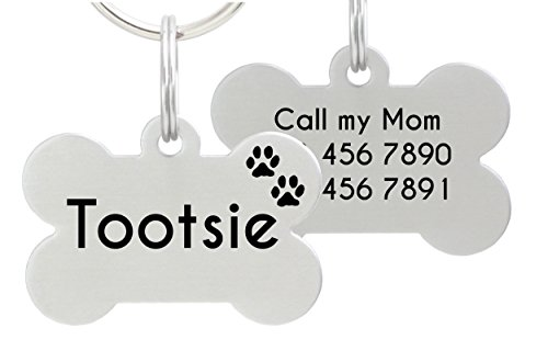 Pet Tag Stainless Steel (Double Sided Laser Etched Stainless Steel Pet ID Tag for Dog Engraved and Personalized Bone Shape (Paws))