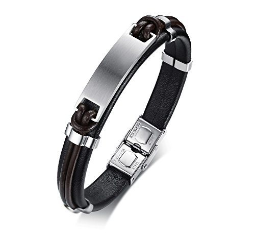Free Engraving Stainless Steel Nameplate Custom Men's ID Leather Bracelets for Men, 8.4'' by Mealguet Jewelry