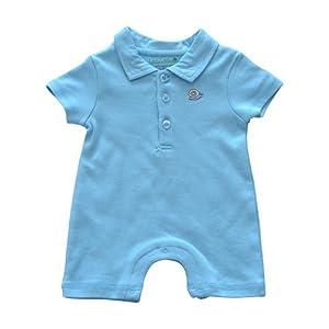 Little Little Organics Polo Bodysuit, Placid Blue, 3M