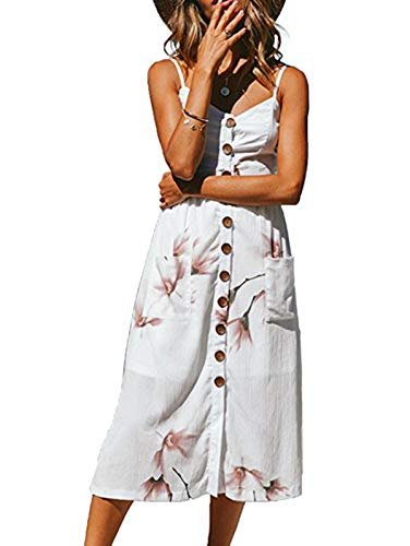 (SWQZVT Women's Dress Summer Spaghetti Strap Sundress Casual Floral Midi Backless Button Up Swing Dresses with Pockets White Floral)
