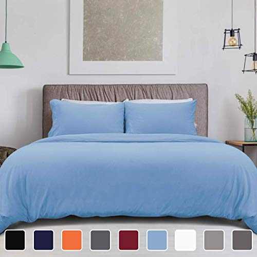 (HOMEIDEAS 3 Piece Duvet Cover Set Sky Blue Queen Size - Double Brushed Microfiber 1800 with Extra Pillowcase - Breathable, Comfortable, Fade, Stain Resistant)