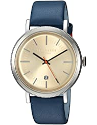 Ted Baker Mens CONNOR Quartz Stainless Steel and Leather Casual Watch, Color:Blue (Model: TE15062001)