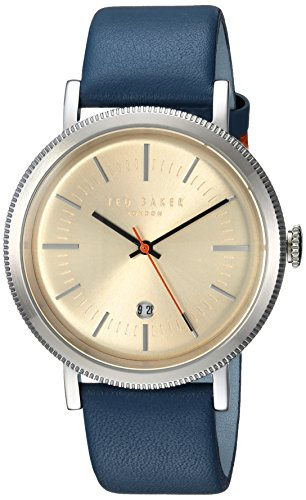 Ted Baker Men's 'CONNOR' Quartz Stainless Steel and Leather Casual Watch, Color:Blue (Model: TE15062001) (Designer Silver Watch)