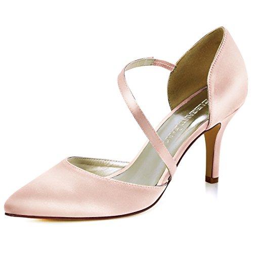 Satin Stiletto High Heel Shoes (ElegantPark HC1711 Women High Heel Pumps Pointed Toe Strappy Satin Wedding Dress Shoes Blush US 7.5)