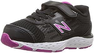 New Balance Girls' 680v5 Hook and Loop Running Shoe, Black/Azalea, 5.5 XW US Toddler