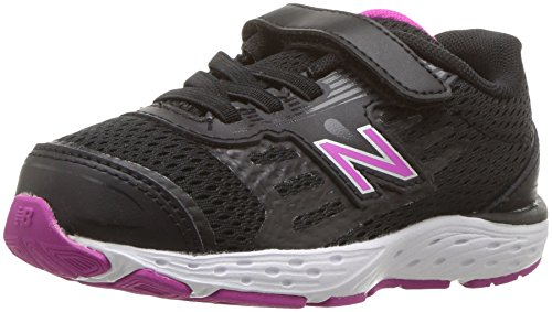 New Balance Girls' 680v5 Hook and Loop Running Shoe, Black/Azalea, 5 W US Big Kid (Azalea Apparel)