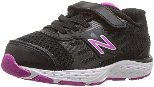 Price comparison product image New Balance Girls' 680v5 Hook and Loop Running Shoe, Black/Azalea, 2 W US Infant