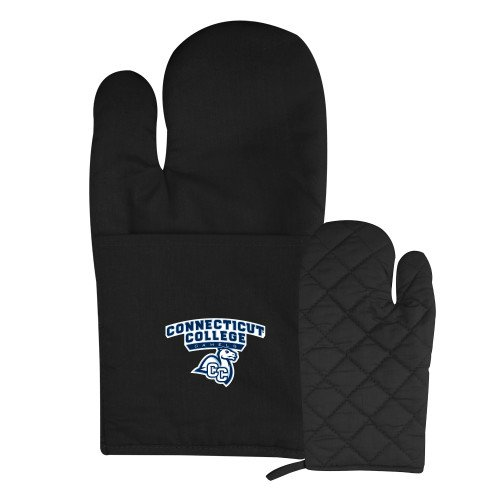 Connecticut College Quilted Canvas Black Oven Mitt 'Primary Mark'