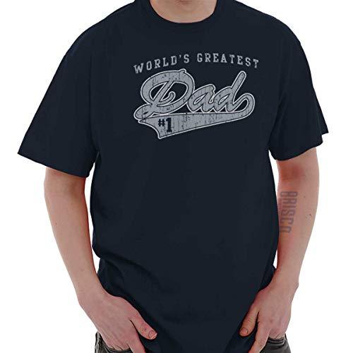 Brisco Brands #1 World Greatest Dad Cool T Shirt Tee Navy