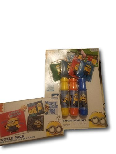 Dispicable Me Disney (Licensed Characters Sidewalk Chalk & Bean Bag Play Set Bundle (Minions))