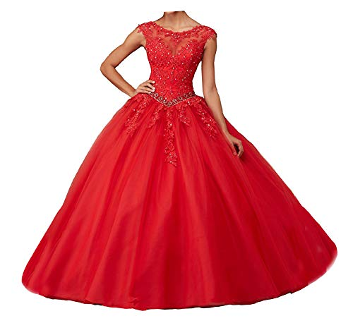 Gown Quinceanera New (Jianda New Women's Girl's Boat Neck Floor Length Ball Gowns Quinceanera Dress 12 Red)