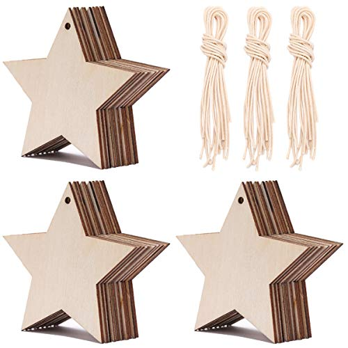 - Tiparts 30 Pieces Wooden Star Shape Cutouts Crafts Natural Wood Hanging Ornaments with 3 Rolls Twines for Christmas Home Party Decoration (Star)