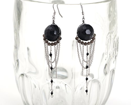 Onyx Dangle Earrings, Smoky Quartz silver chain Gemstone Clusters, Rhodium Plated 925 sterling silver Dangle Earrings ()