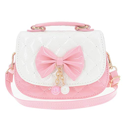 JUNOAI Little Girls Crossbody Purses for Kids - Toddler Mini Cute Princess Handbags Shoulder Messenger Bag Toys Gifts (Bowknot Pink&White)