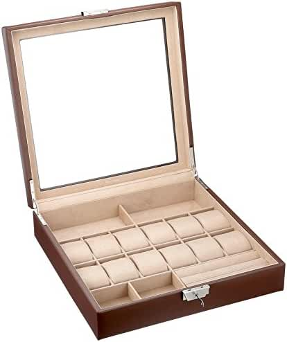 Tech Swiss TS5849RVBRN Watch Box Sunglass Valet Leather Case