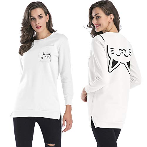 Sweatshirt Pullover Black Classic Cat Smile Pocket Simple Trend O RedBrowm Neck Printed qvY4wZ1