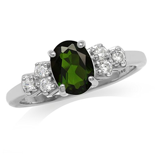 1.32ct. Green Chrome Diopside & White Topaz Gold Plated 925 Sterling Silver Engagement Ring Size 7 (Diopside Green Ring)