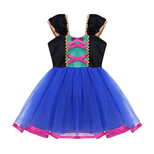 FEESHOW Toddler Baby Girls Pirate/Cinderella/Little Mermaid Princess Dress up Costumes Halloween Birthday Party Outfit Royal Blue 4T -