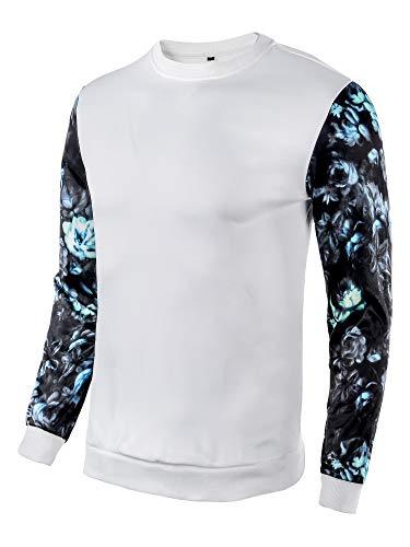 - DAIKEN Men's Floral Long Sleeve Casual Jersey Sweatshirt Fitted Lightweight Crew Neck Sweater Sweatshirts for Men