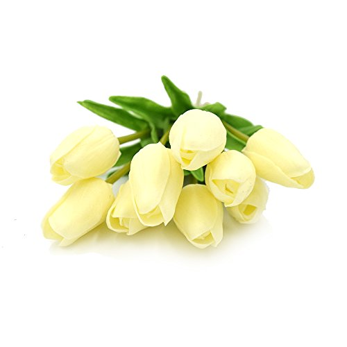SMYLLS 10 pcs Holland Tulips Flowers with Latex-Look Like Real,Eco-friendly Odourless Artificial Flowers Christmas Decoration(10, Sweet White)