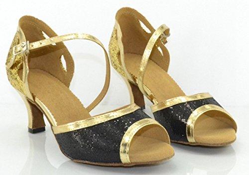 Peep Salsa Gold Strap Heel TDA Buckle Dance Ankle Mid Modern Latin Glitter Shoes Womens Comfort Toe qvxw1U4X