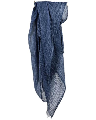 Women Men Cotton Linen Soft Light Evening Scarf Shawl Wrap Casual (Navy blue) - Scarf Prints Linen Cotton