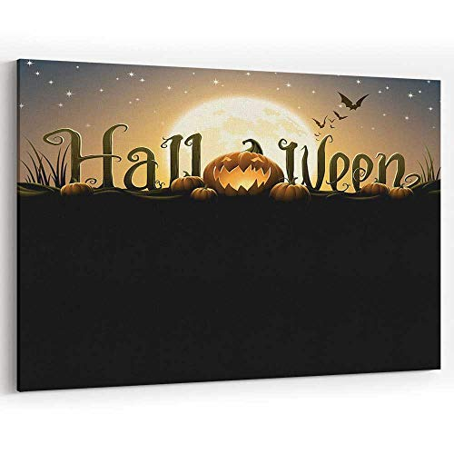 Halloween Text with Pumpkins Canvas Prints Wall Art for Home Decor Stretched-Framed Ready to Hang -