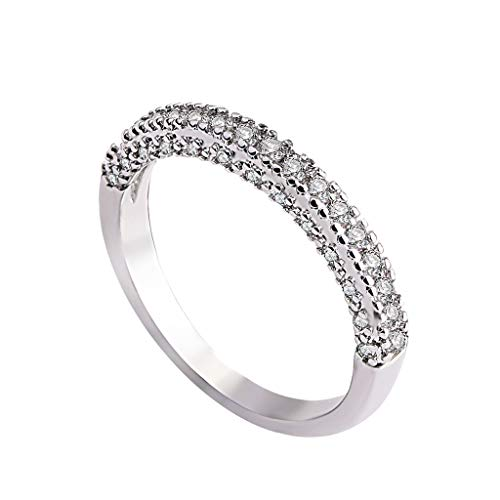 Moonite Women Zircon Ring Crystal Decoration Jewelry Wedding Engagement Rings Gift for Your Lover