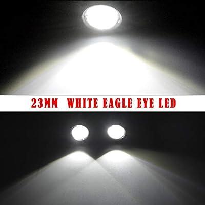 YINTATECH 10PCS Eagle Eye LED Lighting Kit High Power 9W 12SMD Daytime Running Light DRL Car Motorcycle Fog Light Backup Lights (23mm, White): Automotive