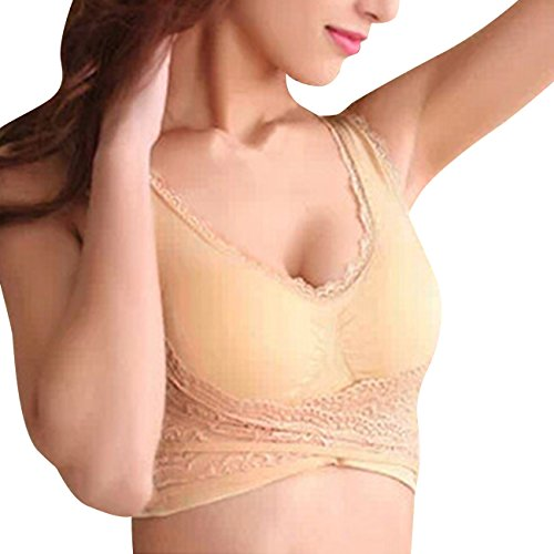 LaLaMa Junior's Yoga Lace Wirefree Push-up Full-Support Sport Bra Skin L