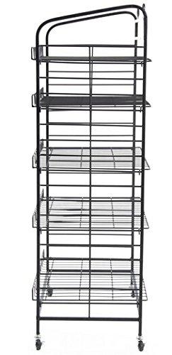 Fixture Displays 29.0'' x 51.0'' x 16.0'' Bakery Display Rack w/ Wheels, 5 Adjustable Shelves & 2 Sign Holders - Black 19409 19409