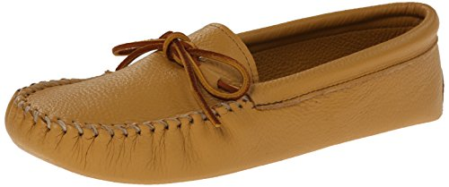 Minnetonka Men's Double Deerskin Softsole Moccasin,Natural Deerskin,11 M US - Deerskin Moccasin