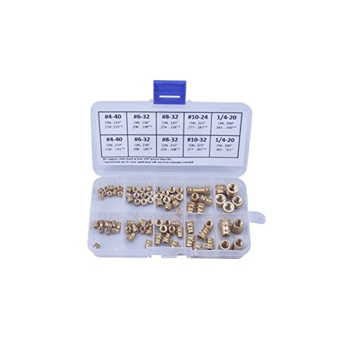 [initeq] Brass Threaded Inserts for Plastics Assortment A Insert Nuts for 3D Printing (Imperial)