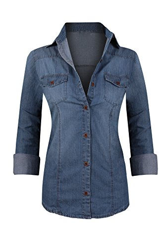 Blue Denim Shirt Top (HOT FROM HOLLYWOOD Women's Roll Tab Long Sleeve Button Up Fitted Pointed Collar Denim Tunic Top)