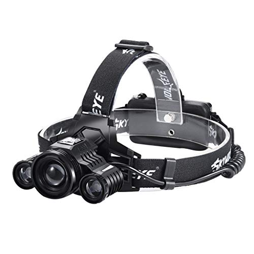 Glumes LED Headlamp, 5 Lighting Modes, Waterproof Lightweight Headlight, Helmet Light for Outdoor, Camping, Running, Hiking, Reading and more, Rechargeable