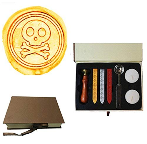 MDLG Vintage Cute Skull Bone Custom Picture Logo Wedding invitations Wax Seal Sealing Stamp Wax Sticks Melting Spoon Candle Gift Box Rosewood Handle set