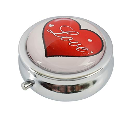 Baoquan Custom Round Glass Pill Case Medicine Vitamin Organizer Wallet or Pocket Decoration Gift (Day of Love Valentin's Day Heart of Hearts Style-A)