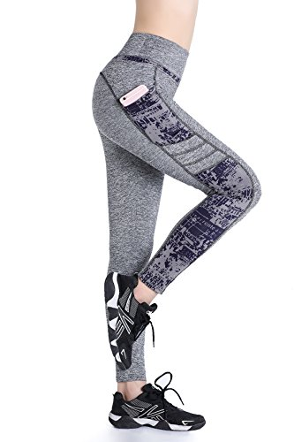 aebf61b2c03c66 Galleon - EAST HONG Women's Yoga Leggings Exercise Workout Pants Gym Tights  (XL, Light Gray Hit Color)
