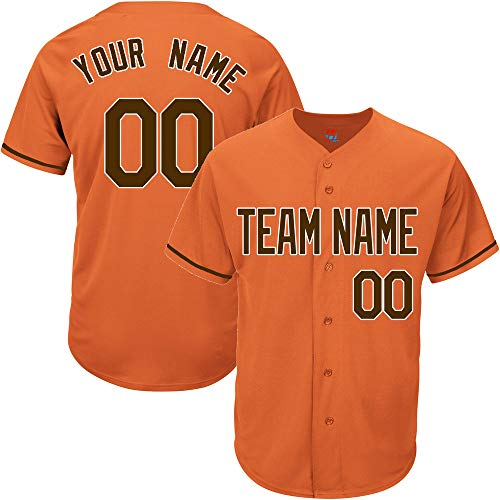 c076ba5f3 Orange Custom Baseball Jersey for Men Women Youth Replica Embroidered Team  Player Name & Numbers S