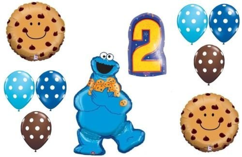 LoonBalloon COOKIE MONSTER Cookies Polka Dots #2 2nd Birthday PARTY Mylar Latex BALLOON Set
